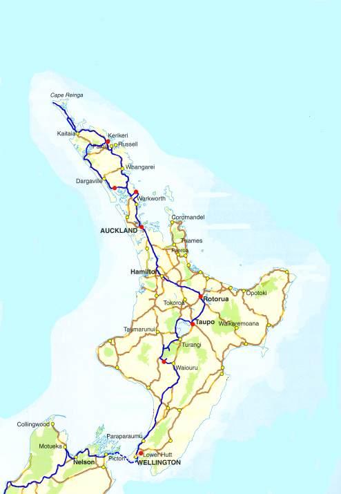 Reiseroute Neuseeland Nordinsel