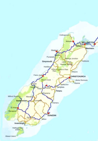 Route Neuseeland Südinsel