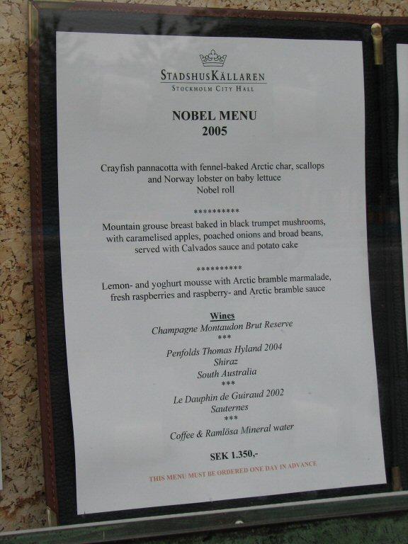 Nobel Menü Stockholm